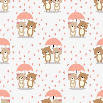 Cute couple bear in the rain seamless pattern.