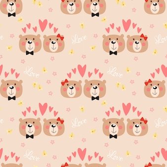 Cute couple bear seamless pattern.