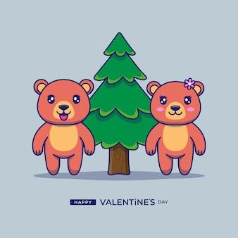 해피 발렌타인 데이 인사와 함께 귀여운 커플 곰