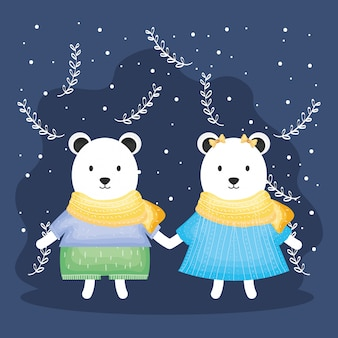 Cute couple bears polar with clothes characters