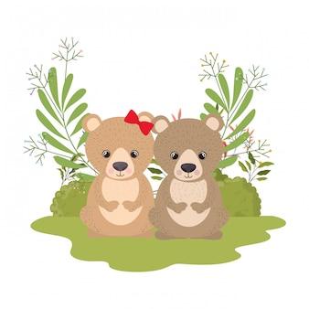 Cute couple of bears with wreath