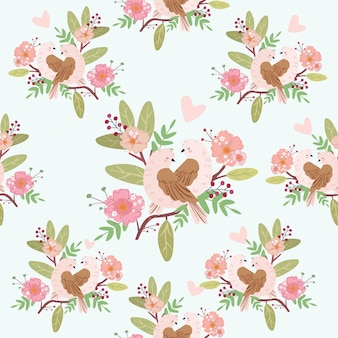 Cute couple bird with floral seamless patterrn.