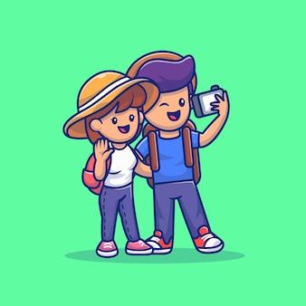 Милая пара мальчик и девочка, путешествующих вместе мультфильм вектор значок иллюстрации. люди и путешествия значок концепции изолированных премиум вектор. плоский мультяшный стиль