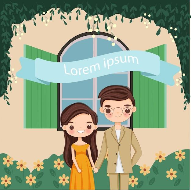 Cute couple boy and girl cartoon