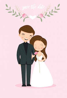Cute couple bride and groom for wedding invitation card