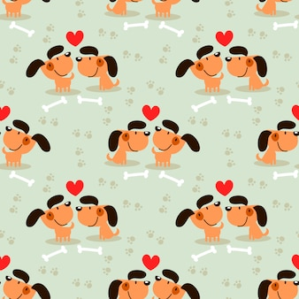 Cute couple brown dog seamless pattern.