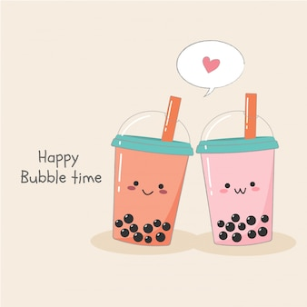 Cute couple bubble milk ice tea in plastic container banner