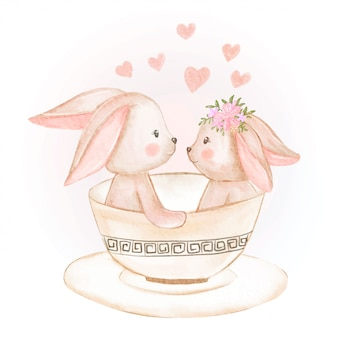 Cute couple bunny in a cup watercolor illustration