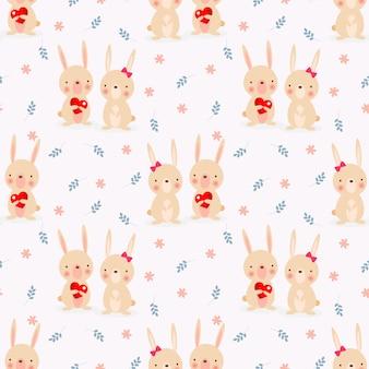 Милая пара кролик в любви бесшовные модели.