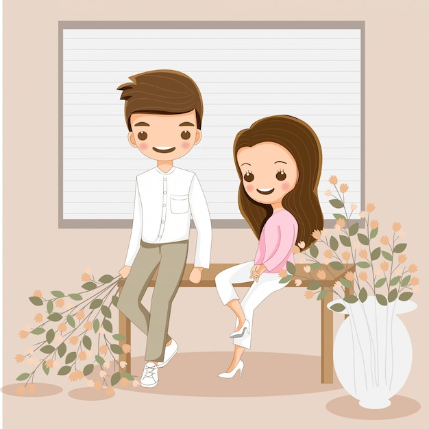Cute couple cartoon character sitting together around with flowers
