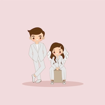 Cute couple cartoon character in white dress