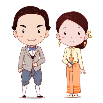 Cute couple of cartoon characters in applied thai traditional costume.