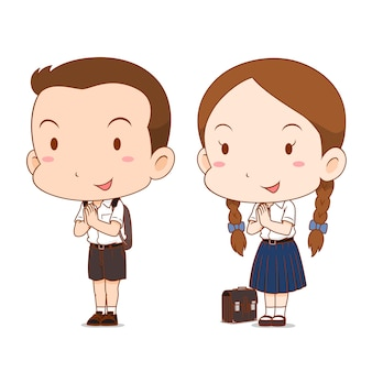 Cute couple cartoon of high school boy and girl.