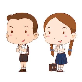 고등학교 소년과 소녀의 귀여운 커플 만화.