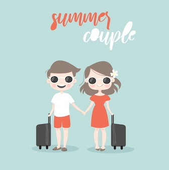 Cute couple cartoon traveling together on summer holiday