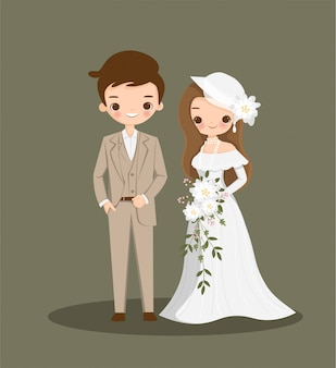 Cute couple cartoon in vintage dress for wedding inviation card