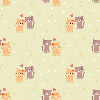 かわいいカップルの猫と心のシームレスパターン