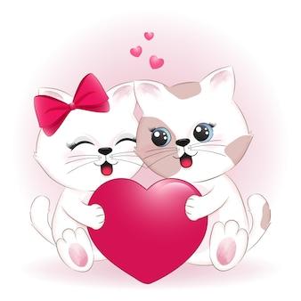귀여운 커플 고양이와 심장 발렌타인 데이 컨셉