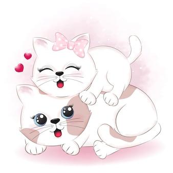 かわいいカップルの猫とハートのバレンタインデーのイラスト