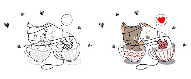 Cute couple cat are loving in cup cartoon coloring page