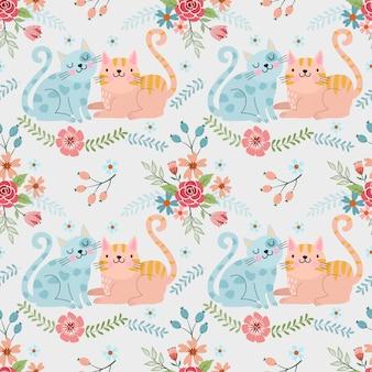 Cute couple cat in flowers garden pattern.