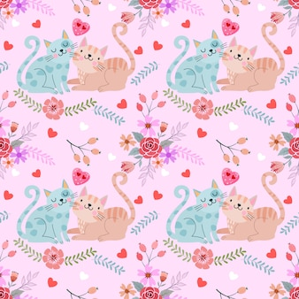 Cute couple cat in flowers garden pattern.