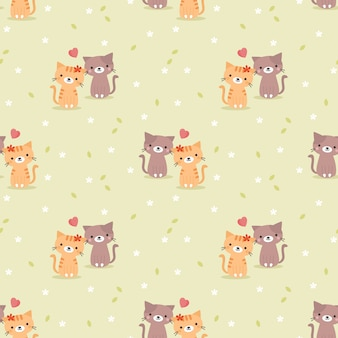Cute couple cat and heart seamless pattern