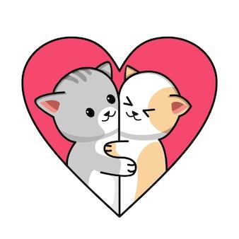 愛の心のかわいいカップル猫漫画イラスト