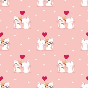 愛のシームレスなパターンでかわいいカップルの猫