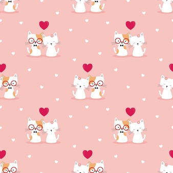Cute couple cat in love seamless pattern