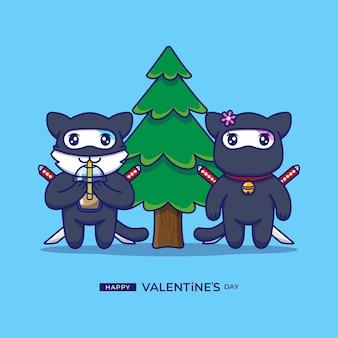 幸せなバレンタインデーの挨拶とかわいいカップル猫忍者