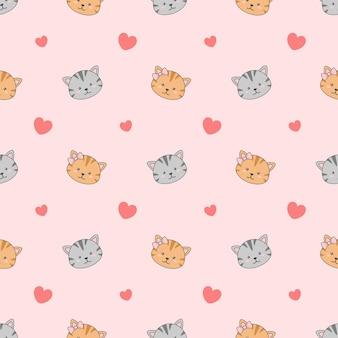 Cute couple cat seamless pattern