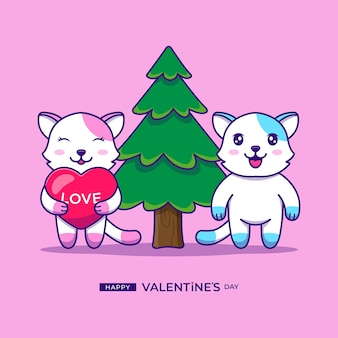 Cute couple cat with happy valentine's day greeting