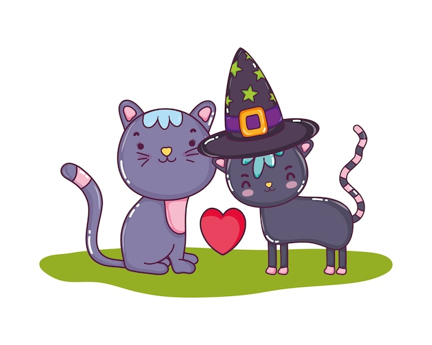 Cute couple cat with hat and heart