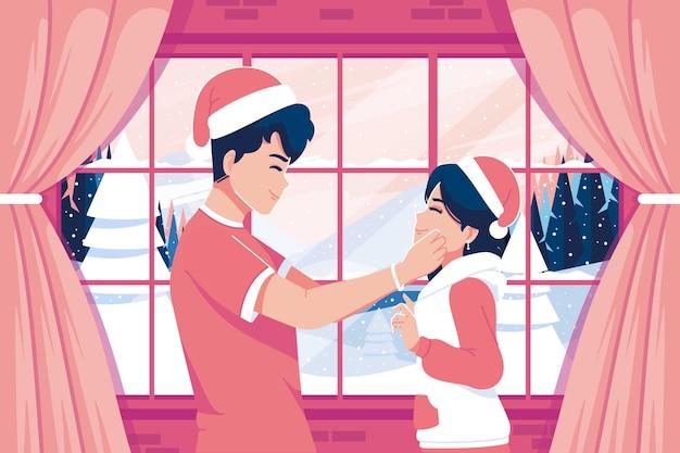 Милая пара празднует рождество иллюстрации фон