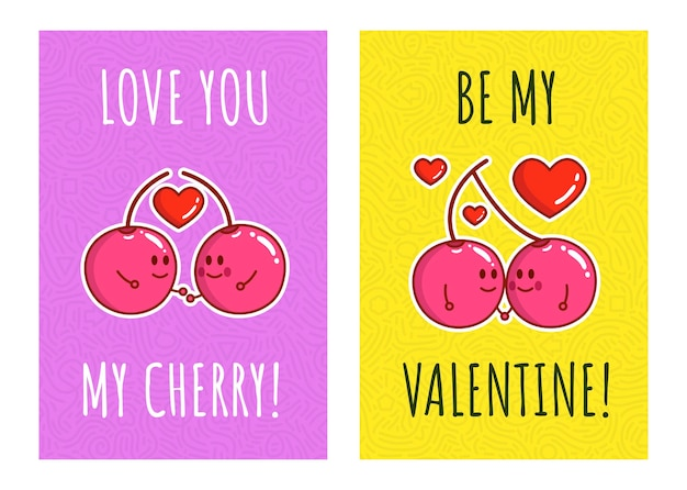 Cute couple cherry cartoon with quote i love my cherry and be my  valentine. for valentine's day. greeting cards for valentine's day.