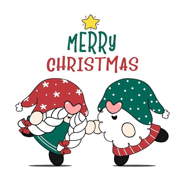Милая пара рождественский гном мальчик и девочка танцуют с рождеством христовым идея поздравительной открытки мультфильм каракули