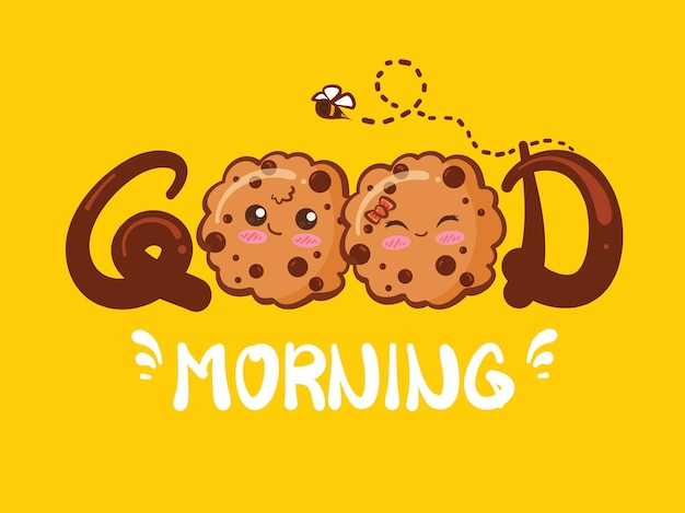 Cute couple cookies good morning concept. cartoon