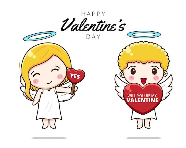 귀여운 커플 큐피드 내 발렌타인이 될