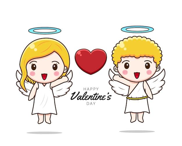 かわいいカップルのキューピッド幸せなバレンタインデー