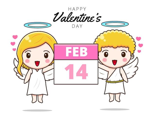Милая пара амур держит календарь