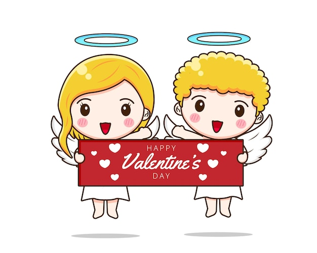 バレンタインデーのバナーを保持しているかわいいカップルのキューピッド