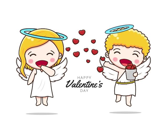 愛を共有するかわいいカップルのキューピッド