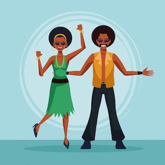 Cute couple dancing at disco