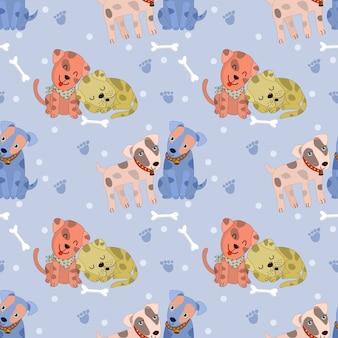 Cute couple dog seamless pattern
