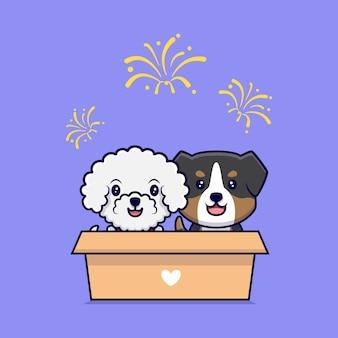 Cute couple dog watching fireworks cartoon icon illustration