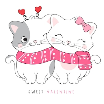 Cute couple doodle kitty for valentine's day illustration