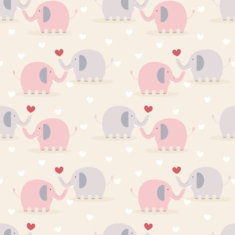 Cute couple elephant in love seamless pattern.