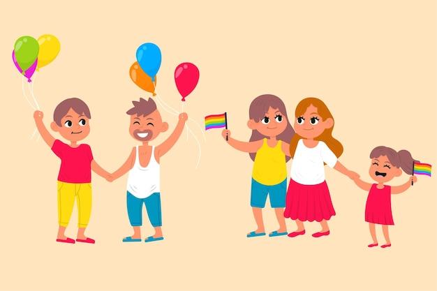 Coppia carina e famiglia festeggiano insieme l'orgoglio