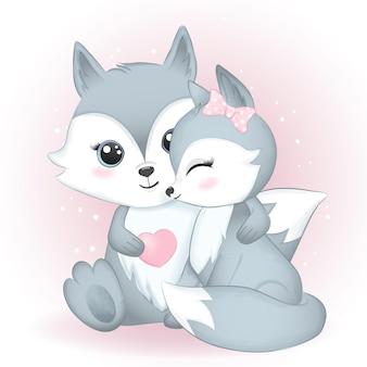 Милая пара лиса и сердце акварельные иллюстрации